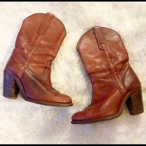 Frye Cherry Brown Western Cowboy Boots Size 6.5